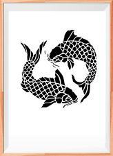 Koi Fish A4 Mylar Reusable Stencil Airbrush Painting Art Craft DIY Home