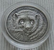 Mongolia 2007 Gulo Wolverine 1 oz silver coin Wildlife Protection 500 togrog