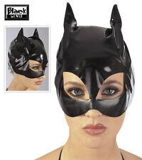 0250066 Maschera x Viso da Sexy Gatta CatWoman PVC Nera Carnevale Travestimento