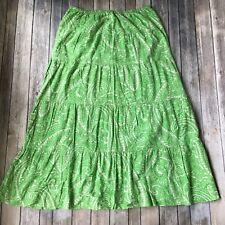 Talbots Peasant Skirt Petite PM P8 P10 Tiered Long Gypsy Boho Paisley Print Maxi