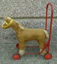 Vintage Pedigree Soft Toy Horse With Red Steel Wheeled Frame