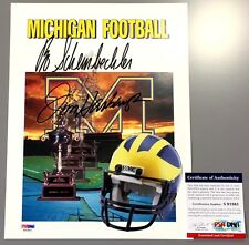 BO SCHEMBECHLER & JIM HARBAUGH SIGNED MICHIGAN WOLVERINES CARD STOCK PSA COA
