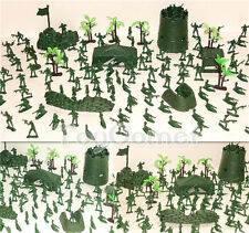 133 pcs Military Base Model Toy Soldier Green 4cm Figure Army Men Playset