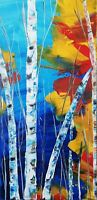 Abstract acrylic original painting on canvas 20x10 inches Listed by Artist