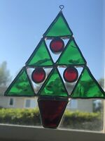 Stained Glass Christmas Tree Shaped Ornament Red & Green Suncatcher