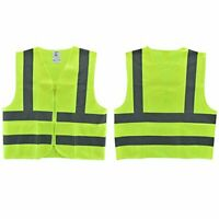 High Visibility Reflective Lime Surveyors Vest with Zipper