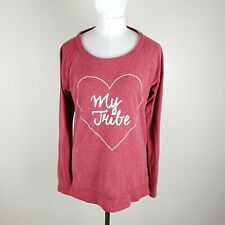"""Chaser """"Love My Tribe"""" Women M Graphic Sweatshirt Top Open Back Nantucket Red"""