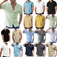 Herren Unifarben Sommer Kurzarm T-Shirt Freizeithemd Hemd Bequem Bluse Oberteile