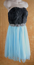 Deb Strapless Homecoming Jeweled Short Formal Party Dress Gray Blue Size 14 ~NEW