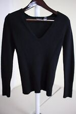 Moda International Wool Blend Black V-neck Sweater Size - Medium