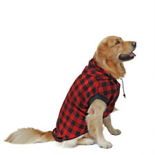 M Size Dog Plaid Soft Removable Hoodie Pet Red Plaid Clothes Warm Sweater Cloth