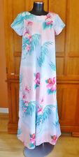 VTG 70s HAWAIIAN Pastel Floral Tropical Print Polynesian Party Maxi DRESS Caftan