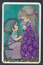 #920.258 Blank Back Swap Card -EXC- Joy, Boy gives flowers to Girl