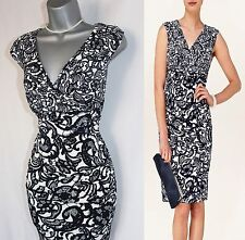 Phase Eight Navy Cream Ledbury Floral Print Silky Jersey Pencil Dress 10 38