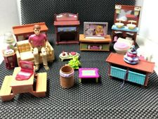 fisher price loving family dollhouse furniture Lot Working Radio & Lamp On Couch