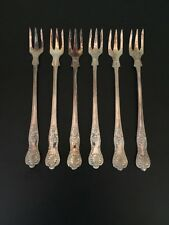 6  JL NS Shell Design Silverplate Cocktail Forks Made in Sheffield England