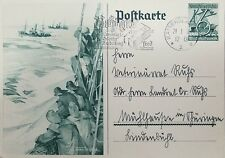 O) 1938 GERMANY, BOAT, POSTAL STATIONERY NUMERAL 6+4 - WINTERHILFSWERK, XF