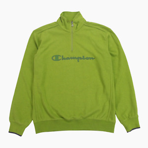 Champion Mens Green 1/4 Zip Embroidered Spellout Logo Sweatshirt L Large Jumper