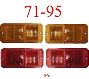 71 95 Chevy Van 4Pc Standard Amber & Red Side Lights G10 G20 G30 GMC Front, Rear