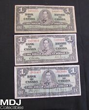 Lot of 3 1937 Canada $1 Notes (1 with Tear)