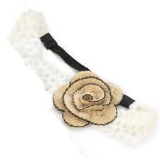 Stone Wool Crochet Flower Motif Elastic Headband Head Wrap Forehead Hair Band