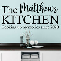 PERSONALISED THE FAMILY KITCHEN Wall Name Sticker, Art Quote, Decal