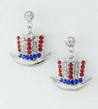 PATRIOTIC UNCLE SAM HAT 4TH OF JULY RED WHITE BLUE RHINESTONE EARRINGS