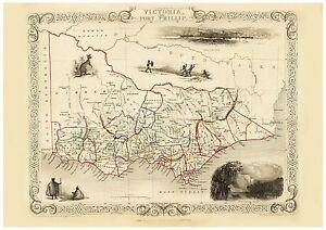 Old Vintage Map of Port Phillip Australia richly illustrated Tallis 1851