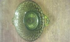 """Vintage Green Glass Pebbled Candy Bowl Dish 7.5"""" in Diameter"""