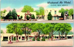 1950s CLOVIS, New Mexico Postcard WESTWARD HO MOTEL Highway 60 Roadside Chrome
