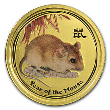 2008 1/10 oz Gold Lunar Year of the Mouse BU (SII, Colorized) - SKU #56491