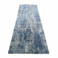 "2'6""x8'3"" Blue Abstract Design Wool And Pure Silk Hand Knotted Runner Rug R48502"