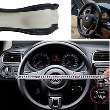 Anti slip Breathable Car Steering Wheel Cover 38CM/15 Inch DIY Genuine Leather