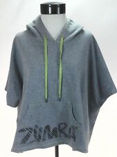 ZUMBA WEAR Hoodie Poncho Cape Swingy Top Gray Logo Dance Fitness Women's M