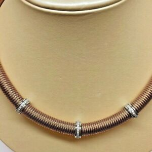 ALOR Kai Rose Color Stainless Steel Stretch Cable Diamonds Necklace NEW