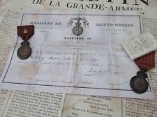 """DIPLÔME MILITAIRE POUR """"MÉDAILLE DE St. HÉLÈNE"""" 1821 (SANS DÉCORATIONS)-REPRO"""