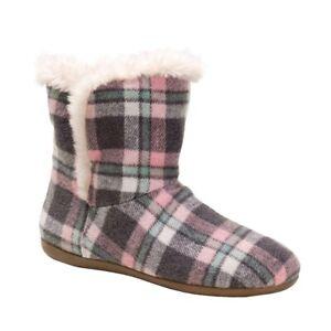 Vionic Womens Cozy Kari Slipper Booties Pink Plaid Slip On Size US 8 New