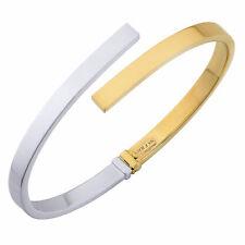 "10k Yellow And White Gold Bypass Women's Bangle Bracelet, 7"""