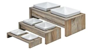 Bowsers Artisan Double Wood Feeder Fossil - Sizes Small; Medium; Larg