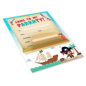 20x Childrens Kids Birthday Party Invitations Invites Pack Blank - Pirate