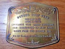 Vintage BRASS wall plaque 'BOURNE GOLF CLUB, Rare. FUN Quirky. Slapstick,