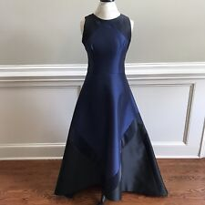 Theia High Low Ball Gown Dress Womens 10 Sleeveless Navy Blue Black Full Length