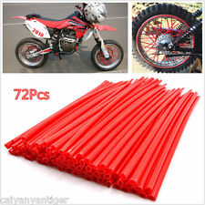 72Pcs PVS Red Motocross Dirt Bike Enduro Wheel Rim Spoke Skins Covers Wraps Kit