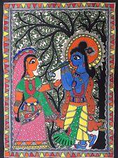 Madhubani Mithila Paintings Hindu Gods 'Radha Krishna' Handmade Indian Folk Art