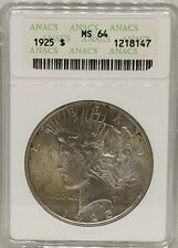 1925 Peace Silver Dollar $1 ANACS MS64