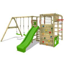 Wooden climbing frame FATMOOSE ActionArena - Swing set with apple green slide