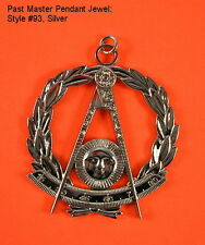 Silver #93 Masonic Past Master Jewel Pendant Medallion Officer Fraternal Regalia
