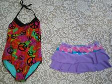 Lot of 2 Swimsuit leotard One-piece Xhilaration Skirt Size L 10-12