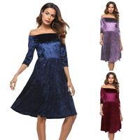 Women's Dress Half Sleeve Off Shoulder Velvet Ladies Formal Party Pleated Dress