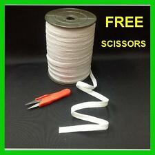 "Braided Elastic White 1/2"" inch 144 YARDS ROLL Spool with FREE SCISSORS"